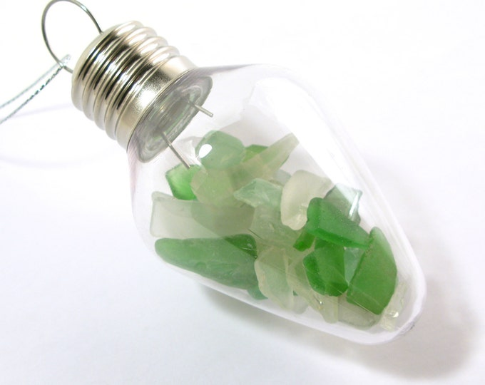 Rhode Island Soda Bottle White and Green Sea Glass Filled Clear Plastic Vintage Light Bulb Christmas Ornament with a Decorative Swirl Hook