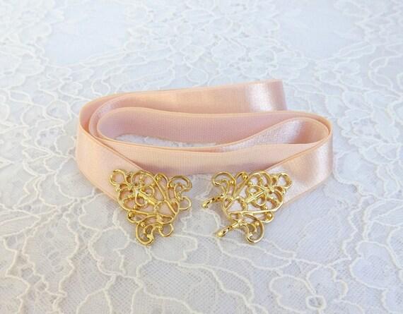 Light peach elastic waist belt. Gold filigree buckle. Bridal/ Bridesmaid peach waist belt