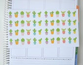 Happy Cactus Stickers, Set of 48 Planner Stickers, Erin Condren Planner Stickers, Happy Planner Stickers, Printed + Kiss Cut