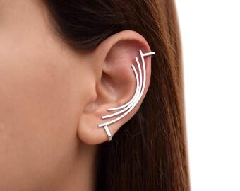 Silver ear cuff earring, non pierced ear cuff,  sterling silver ear climber, no piercing ear cuff, hypoallergenic earring cuff, ear crawler