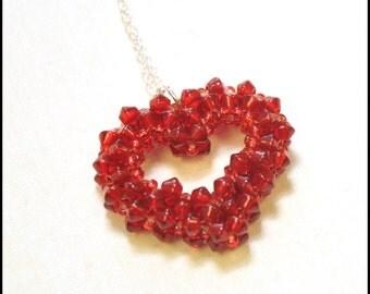 Red beaded heart pendant