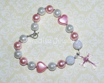 Valentine Chunky Bead Rhinestone Cross, Princess Necklace, Girls Pink  White Pearl Heart Bubblegum Necklace, Birthday Photos, Baptism Gift