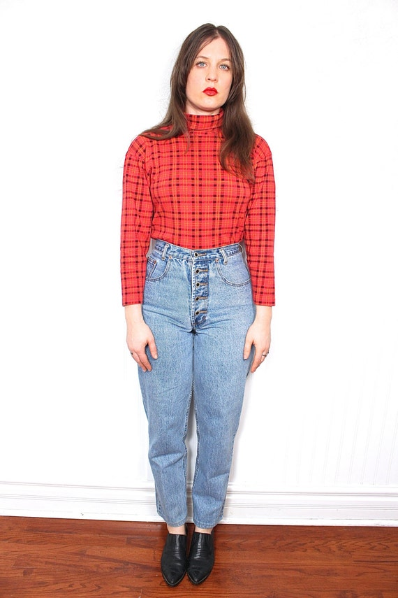90s Button Fly Mom Jeans 90s Grunge Clueless Light Blue