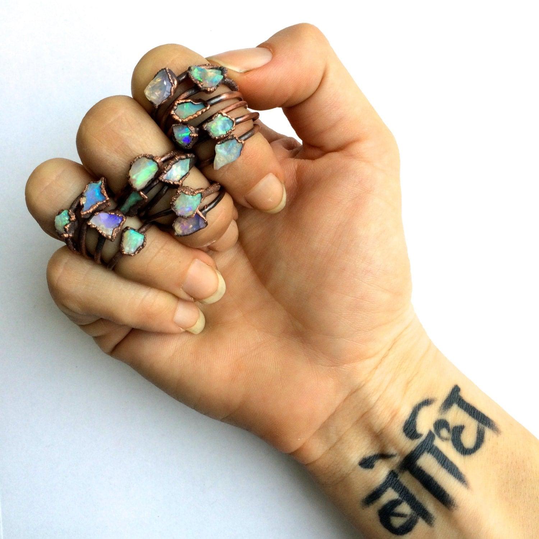 Raw opal ring Rough opal ring Rough opal jewelry