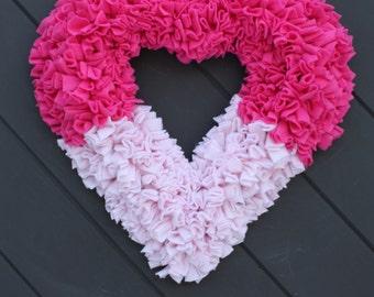 Pink Heart Wreath, Valentine's Wreath, Heart Rag Wreath, All Season Wreath, Valentines Day, Fabric Wreath, Little Girl's Room Decoration