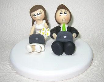 Online Wedding Cake Topper, Laptop Cake Topper, Cyber Lovers Cake Topper