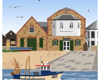 WHITSTABLE. Travel poster of Oyster Restaurant on Whitstable Beach, Kent. A4, A3, A2