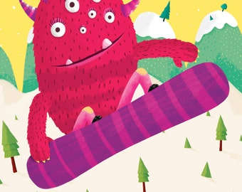Girl Monster Snowboard Art Print - Girls Room Decor - Art for Kids - Customizable for Your State or Child's Name