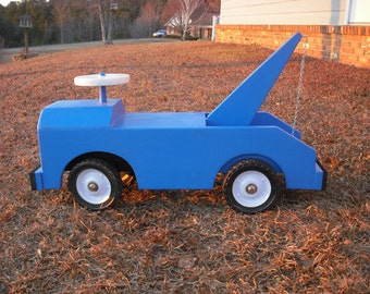 Wooden Toy Truck, Light Blue Tow Truck Child's Riding Toy ....Tow Truck