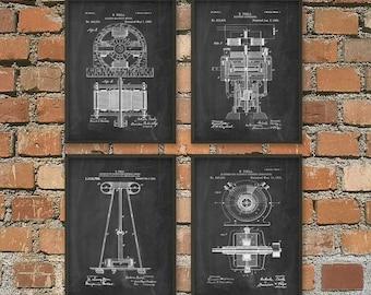 Tesla Patent Prints - Nikola Tesla Engineering Invention Patent - Tesla Motors - Tesla Coil Generator - Electric Circuit Poster Set Of 4