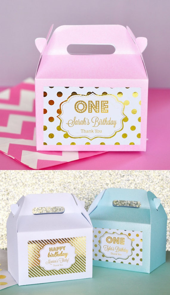 Il_570xn  sc 1 st  Catch My Party & 1st Birthday Party Favors Boxes - Pink and Gold 1st Birthday Favors ...