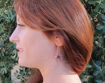Pink Topaz, Purple Amethyst and Pink Amethyst 14K Rose Gold Filled Handmade Flower Drop Earrings