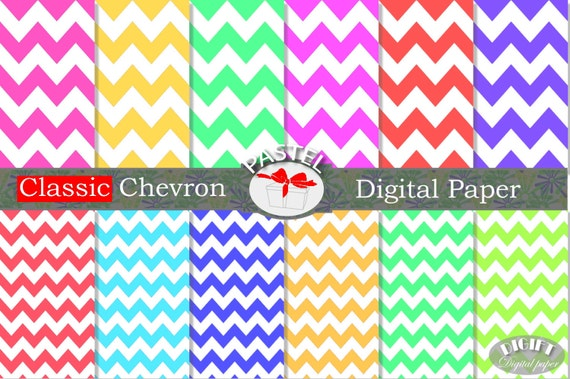 Pastel Chevron Digital Paper pastel painting Pink Chevron Red chevron digital papers Gold chevron Green pastel chevron fabric print blue art