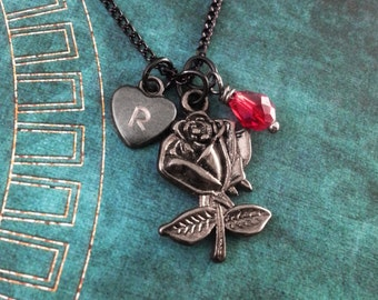 Black Rose Necklace, Custom Valentine's Day Gift, Personalized Necklace, Heart Pendant, Gothic Jewelry, Black Rose Charm Necklace, Red Gem