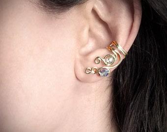 24k Gold Plated Ear Cuff Swarovski Crystal Sparkle Gold plated Ear Wrap