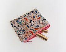 Cosmetic zipper pouch,girls coin purse, gadget bag, utility bag, organic cotton pouch