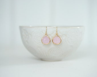 Light Pink and Gold Teardrop Earrings | Bridesmaid Earrings | Wedding Jewelry