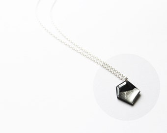 simple geometric necklace black and silver necklace long minimalist necklace vinyl record pendant necklace eco fashion recycled jewelry