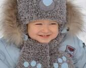 Baby Boys Hats Ear hat Kids Hats Kids Fall Teddy Bear Hat Knit Bear Beanie Animal Hat Warm hat Kids Winter hat Set hat scarf kids gift baby