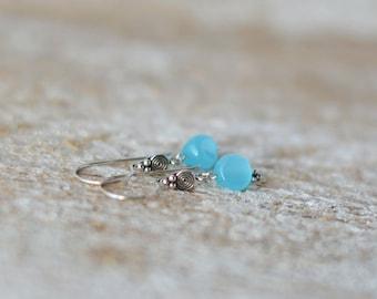 Silver earrings mint jewelry earrings silver handmade dangle earrings blue natural mint earrings gift for woman earrings silver