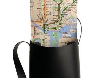NYC Crossbody Bag - Recycled Leather with Real NYC Subway Map lining