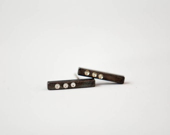 Oxidized Silver Bar Stud Earring, Black Silver Earring Studs, Ready To Ship