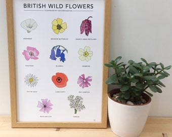 British Wild Flowers print - wildflower poster - flower wall art - wildlife / nature print - botanical art - floral art
