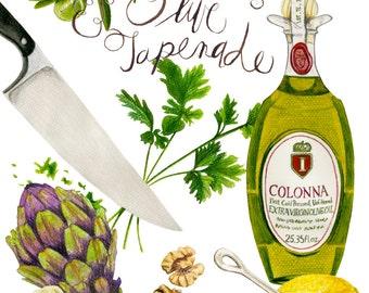 Artichoke and Olive Tapenade Recipe Watercolor and Colored Pencil Illustration