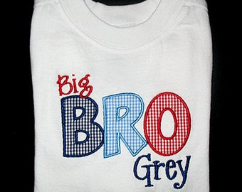 Custom Personalized Applique Big, Middle, or Little BROTHER and NAME Shirt or Bodysuit - Red, Navy, and Lt Blue Mini Gingham
