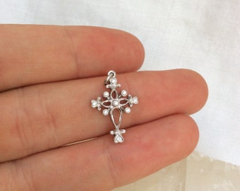 Sweet and Feminine 18k White Gold & Diamond Cross Pendant