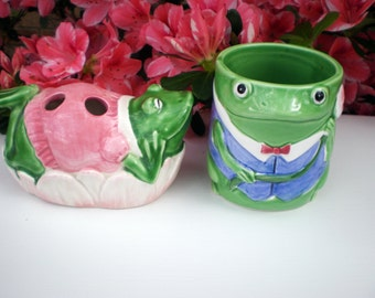 Vintage Bath Accessories, Boy and Girl Frog Figurine, Otagiri Ceramics, Mary Ann Baker Design, Green Pink Frog Cup and Toothbrush Holder