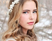 flower and pearl hair crown, pearl headpiece, wedding headband, bridal headpiece, wedding headpiece, wedding hair accessories