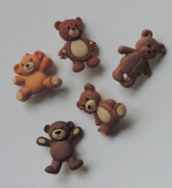 "Teddy Bear Buttons, Packaged Novelty Buttons,  Assortment Pack, ""Stuffed with Love"" by Dress It Up, Jesse James, Shank Backs, Embellishments"
