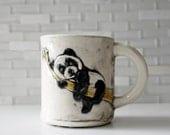 Panda Mug | black white panda bear coffee mug tea cup | zoo animal mug | handbuilt ceramic stoneware mug with black interior | made to order