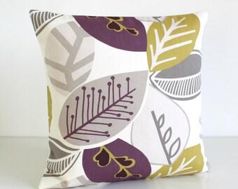 Decorative Pillow Cover, Purple Cushion Cover, 18 Inch Accent Pillow, 18x18 Pillow Cover, Toss Pillow, Pillow Case - Nordic Fall Aubergine