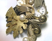 Vintage Jewelry Gold Steampunk Brooch, made with vintage, handmade steampunk pin, unique steam punk jewelry, one of a kind, ooak, unique