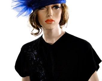 Vintage Women's Clothing Dress Black 1940's / Cobalt Blue Dress Appliques  / Ruched Bodice / War Era 40's Fashions