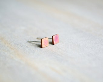 The Sunset Studs | Tiny Square Studs, Square Stud Earrings, Copper Patina Studs, Tiny Studs, Geometric Stud, Minimalist Studs, Mini Stud