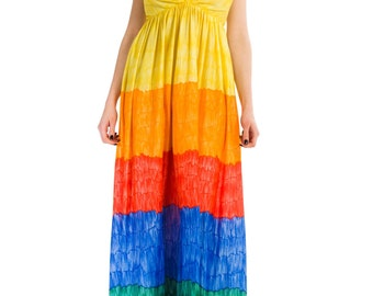 1970s Vintage Over the Rainbow Halter Dress  Size: M-L