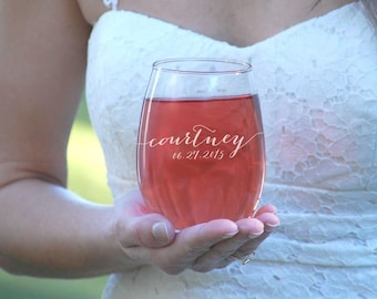 6 Bridesmaid Gifts, Stemless Wine Glass, Bridal Party Gift, Engraved Wine Glasses Personalized Bridesmaid Gifts, Wine Tumblers Maid of Honor
