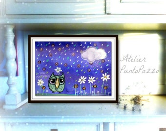 Owl decor blue - drawing on high quality paper, UNFRAMED,gift for pet lovers,sweet owl on a rainy day,unique gift for owl fans,nursery decor