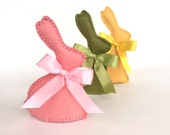 3 Easter Bunnies Fruit SCENTED, Felt Chocolate Easter Bunnies with Satin Bows, felt food, Easter basket, Chocolate Bunny, children's tea set