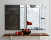 Frameless antiqued mirror. Interesting, colorful frameless mirror with hand antiqued pattern. This decorative wall mirror is custom made.