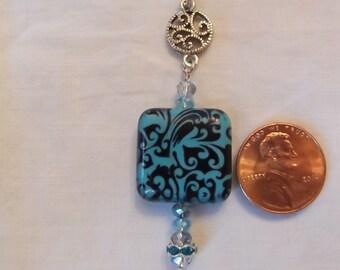 Turquoise Decoupaged Pendant