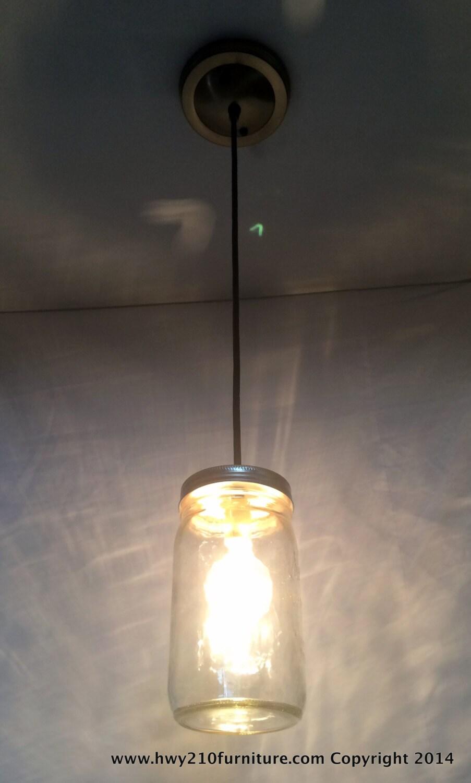 Mason Jar Pendant Light Antique Bronze Steel Canopy