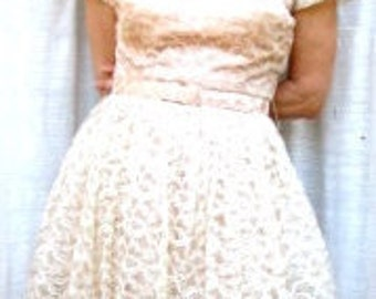 Belted PEACH TAFFETA With Off-White LACE Dress