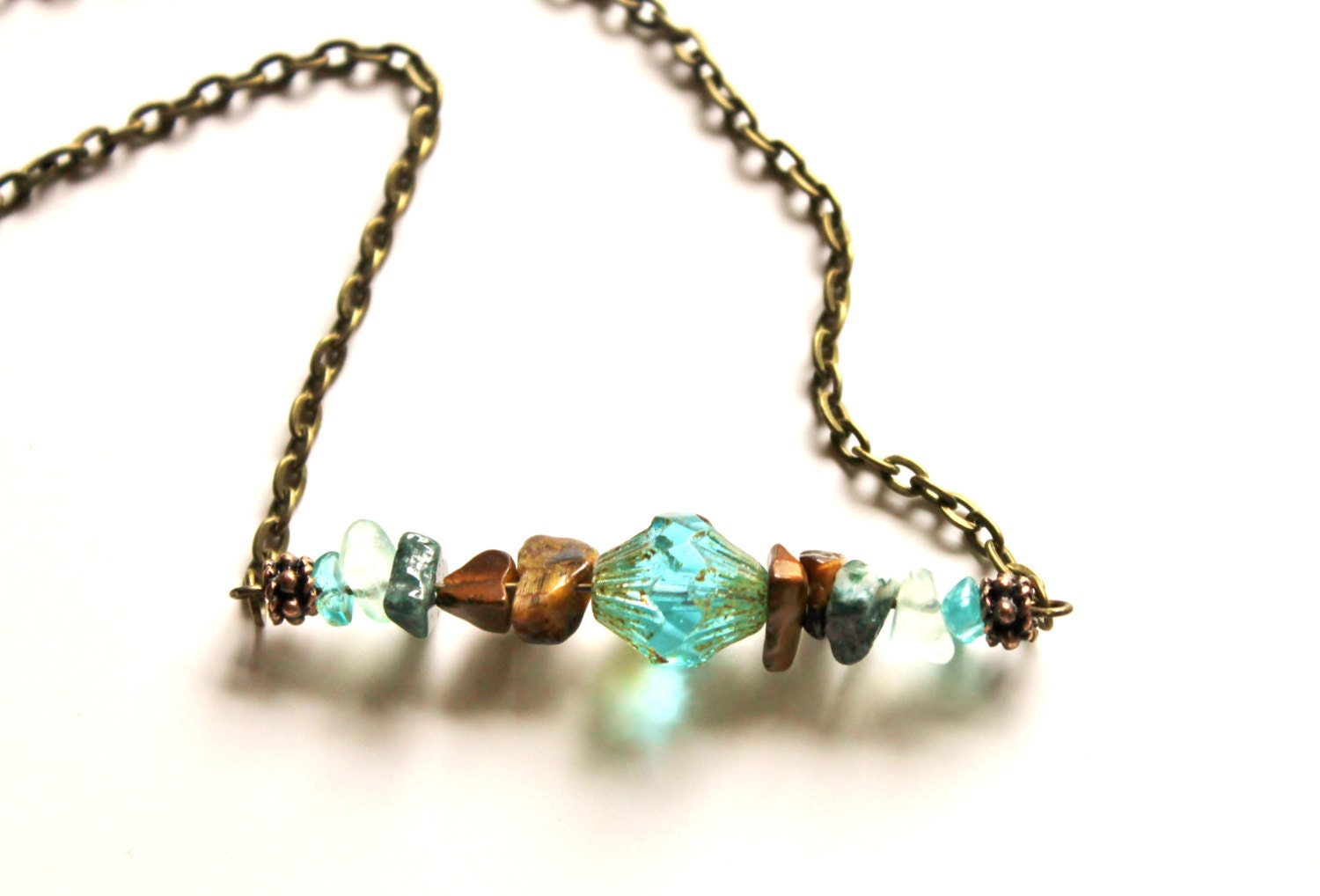 Boho Jewelry Turquoise Hippie Necklace Earthy by ...