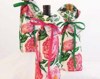 Wine Bottle Gift Bag - Peony Print