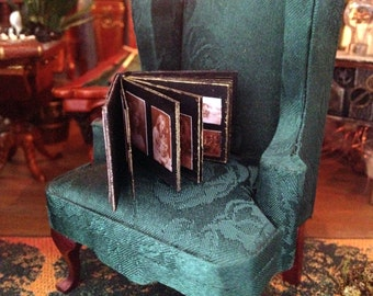 Book photo album miniature Dollhouse scale 1:12