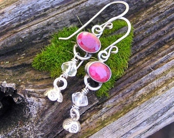 faceted indian ruby, rock crystal quartz,  hill tribe silver, and sterling silver dangle earrings. july birthstone earrings. flower charms.